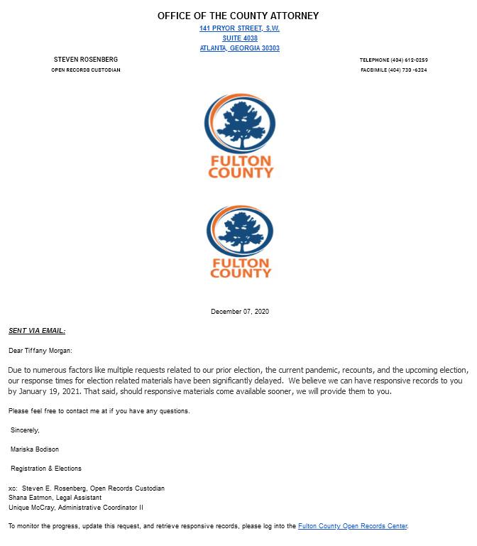 Fulton County, Georgia City Attorney's letter