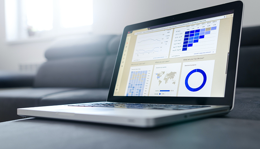Laptop with statistics