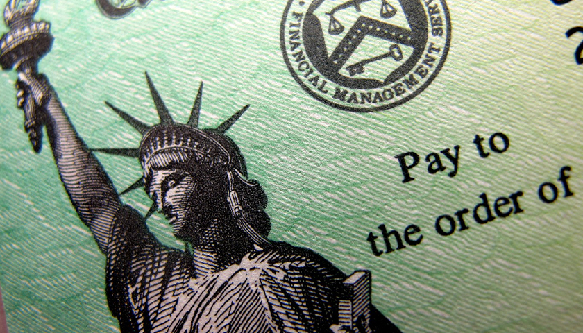 Close up of federal check