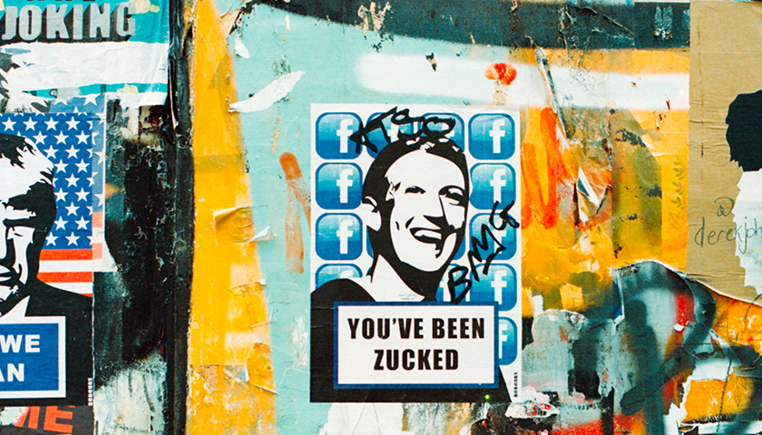 "Graffiti of Mark Zuckerberg ""You've been zucked"""