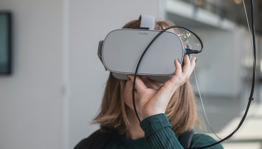 Girl with VR headset on